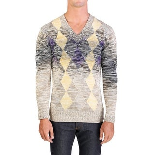 Prada Men's Cotton Argyle Sweater Beige