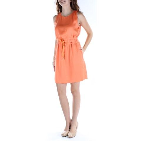 RACHEL ROY Womens Orange Pocketed Tie Sleeveless Jewel Neck Above The Knee Sheath Dress Size: 2