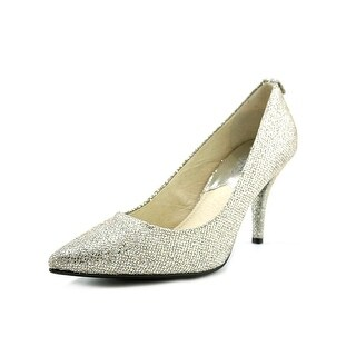 Michael Michael Kors Flex Mid Pump Women Pointed Toe Canvas Silver Heels
