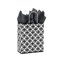 "Pack Of 25, Carrier 10 x 5 x 13"" Black Geo Graphics Recycled Paper Shopping Bag W/White Paper Twist Handles"