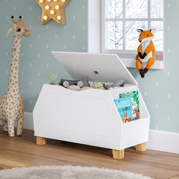 RiverRidge Home Kids Catch-All Toy Box with Lid, White. Opens flyout.