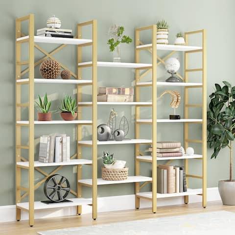 Bookshelf, Triple Wide 5-Shelf Bookcase, Open Bookshelf Vintage Industrial Style