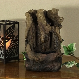 Sunnydaze Hollowed Log Tabletop Fountain with LED Lights, 11.5 Inch Tall
