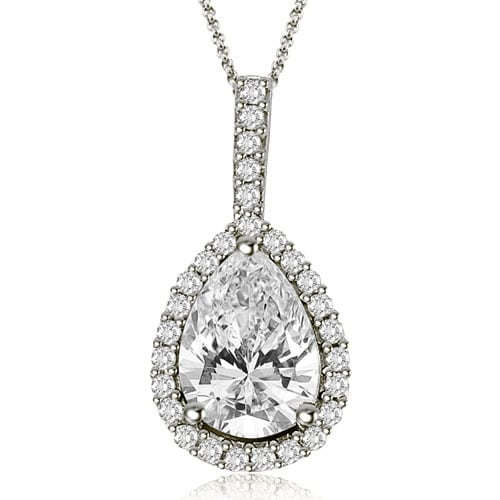 0.90 cttw. 14K White Gold Pear And Round Halo Diamond Pendant