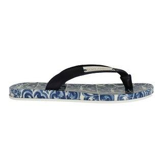 Dolce & Gabbana Blue Leather Shoes Majolica Flip Flops - 35