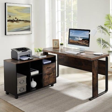 L Shaped Desk, 55 inch Computer Office Desk Workstation with File Cabinet