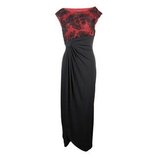 Connected Women's Plus Size Soutache Faux-Wrap Gown (More options available)