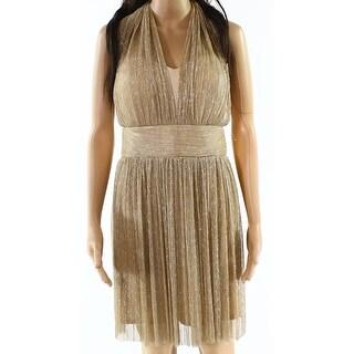 Alexia Admor NEW Gold Womens Size 12 Halter Shimmer Sheath Dress