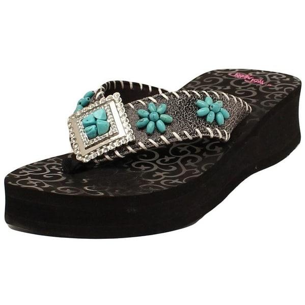 Blazin Roxx Western Shoes Womens Lindsay Flip Flops Black