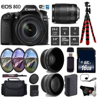 Canon EOS 80D DSLR Camera with 18-135mm is STM Lens + Tripod + UV FLD CPL Filter Kit + Card Reader Bundle - Intl Model