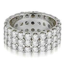 4.85 cttw. 14K White Gold Round Diamond Three Row Eternity Ring
