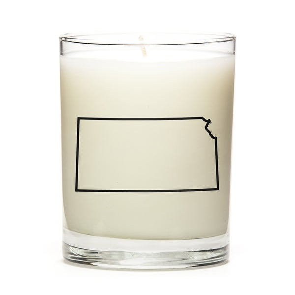 Custom Candles with the Map Outline Kansas, Lavender