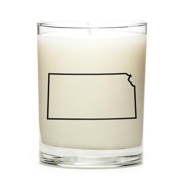 Custom Candles with the Map Outline Kansas, Lemon