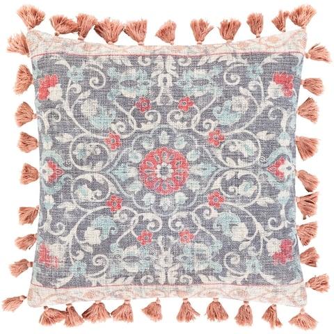 Millie Printed Floral Medallion Cotton Throw Pillow