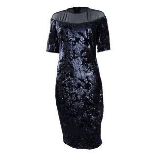 Jax Sequined Velvet Illusion Dress (2, Navy) - Navy - 2