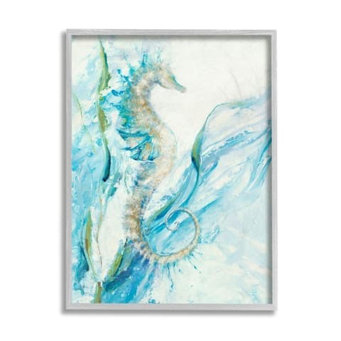 Stupell Industries Nautical Seahorse Blue Fluid Ocean Water Framed Wall Art
