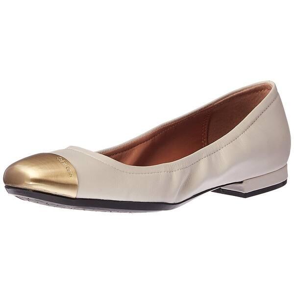 b229e4a799f5 Shop Calvin Klein Womens Fiana Leather Cap Toe Ballet Flats - Free ...
