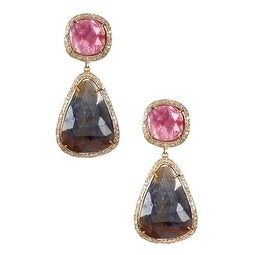 Sterling Silver Multi Sapphire Diamond Earrings, Multi Sapphire Dangle & Drop Earring