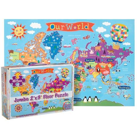 "World Floor Puzzle for Kids, 24""H x 36""L, 48 Pieces"