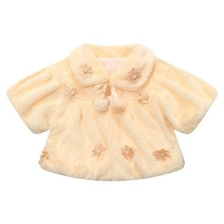 Richie House Little Girls Light Yellow Flowery Winter Waistcoat 4-6