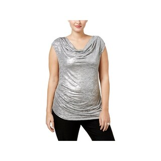 Calvin Klein Womens Plus Blouse Metallic Drapey
