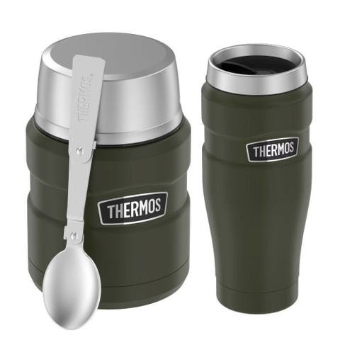 Thermos Stainless Steel Insulated 16 Oz Food Jar with Spoon and 16 Oz Mug