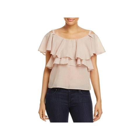 JOA Womens Blouse Cold Shoulder Convertible