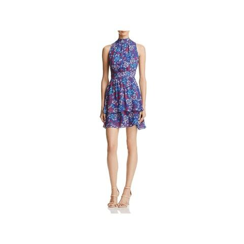 Parker Womens Aurora Mini Dress Silk Floral Print
