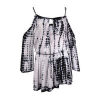 Raviya Women's Cold Shoulder Tye Dye Coverup - BLACK/WHITE