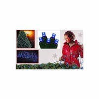 Blue Wide Angle LED Net Style Christmas Lights - Green Wire