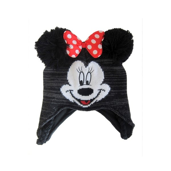 Shop Disney Girls Beanie Minnie Mouse Winter Hat Peruvian Pom Ears ... 8bb657a0c89f