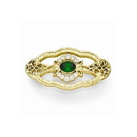 Goldtone Downton Abbey Green and Clear Crystal Pin