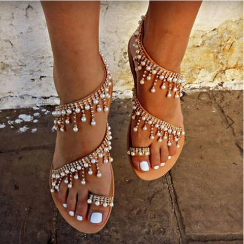 Women Summer Leather Sandals Casual Pearls Shoe