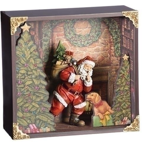 """Pack of 2 Red and Dark Green Christmas Decoration Santa with Dog 11"""" - N/A"""