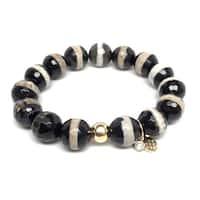 """Black & White Agate Lauren 7"""" Bracelet"""
