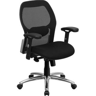 Offex Mid-Back Super Mesh Office Chair with Black Fabric Seat and Knee Tilt Control [OF-LF-W42-GG]