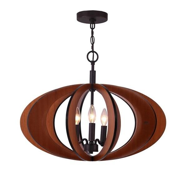 "Woodbridge Lighting 14013-W1D2CH Fins 3-Light 24"" Wide Single Pendant"