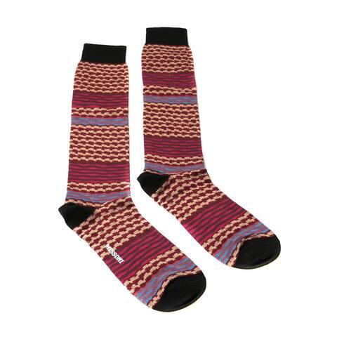 Missoni GM00CMU5238 0002 Fuschia/Tan Mixed Stripe Knee Length Socks