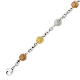 Stainless Steel Tri-Color Plated Diamond Cut 8in Bracelet