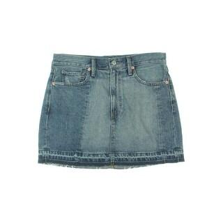 Denim & Supply Ralph Lauren Womens Denim Skirt Distressed Frayed Hem