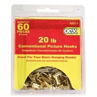 OOK 55511 Conventional Picture Hook Picture Hanger, 20 lb, Steel