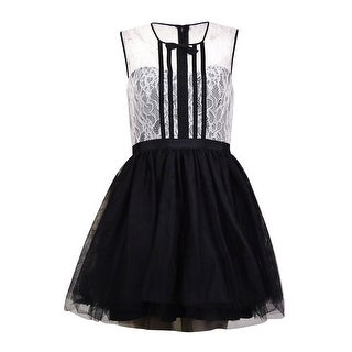 BCBGeneration Women's Sleeveless Lace & Tulle Bow Accent Dress - Black