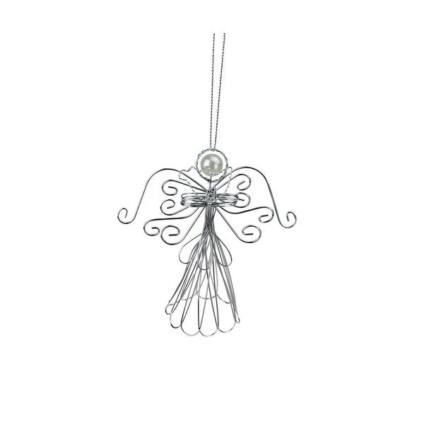 """5"""" Wire Angel Holding Heart Decorative Christmas Ornament - silver"""