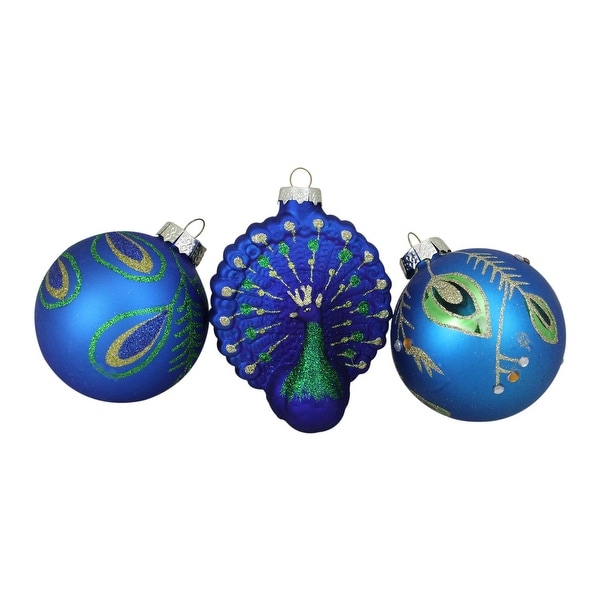 "3ct Peacock Design Glass Christmas Ornament Set 3.25"" (80mm)"