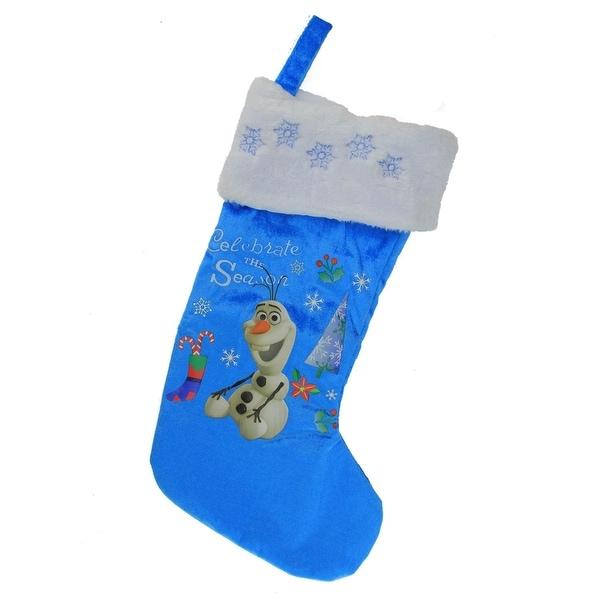 """18.5"""" Disney Frozen Olaf the Snowman """"Celebrate the Season"""" Blue & White Christmas Stocking"""