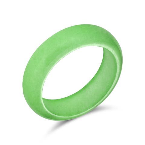 Good Luck Energy Smooth Gemstone Stackable Dyed Green Jade Band Ring