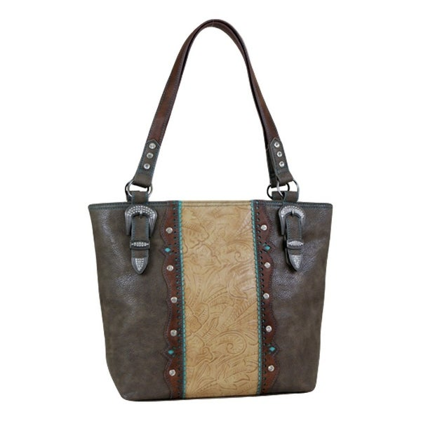 Way West Western Handbag Women Marissa Tote Yoke Conceal Sepia 1730309 - sepia turquoise - 15 x 4 1/2 x 12