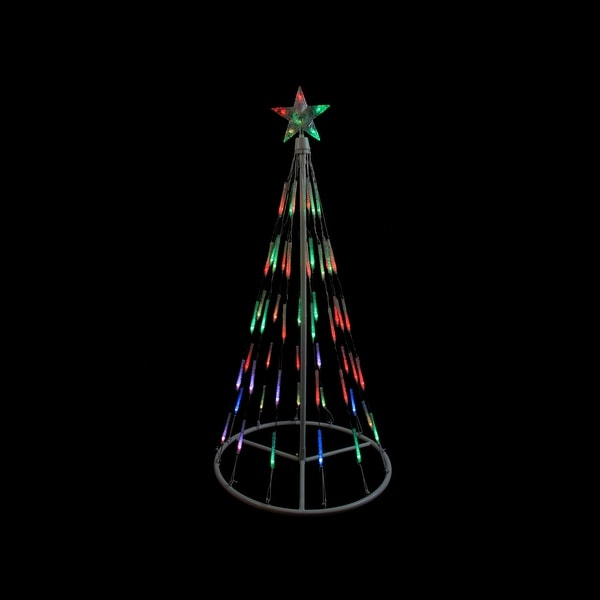 4' White Single Tier Bubble Cone Christmas Tree Lighted Yard Art Decoration - Multi Lights