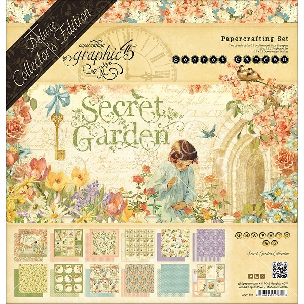 "Graphic 45 Deluxe Collector's Edition Pack 12""X12""-Secret Garden"