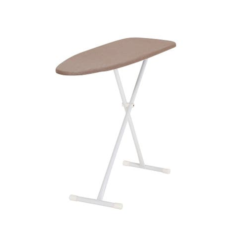 Household Essentials Armoire T-Leg Ironing Board with Steel Mesh Top, Fiber Pad and Silicone-Coated Cotton Cover